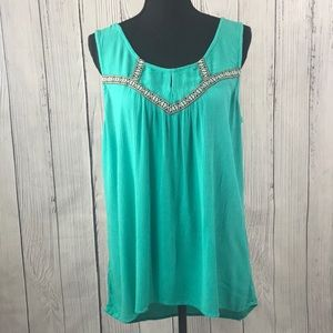 Maurices Green Embroidered Keyhole Hi-Lo Tank Top